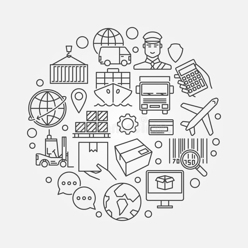 Logistics and shipping round illustration vector illustration