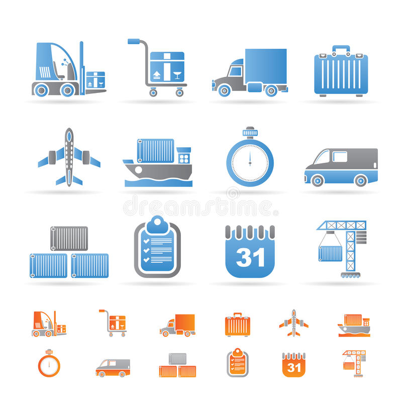 Download Logistics, Shipping And Transportation Icons Stock Vector - Image: 17915871