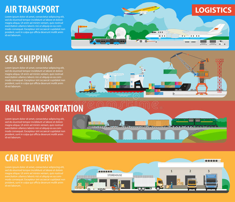 Logistics and shipping types infographics vector template banners vector illustration