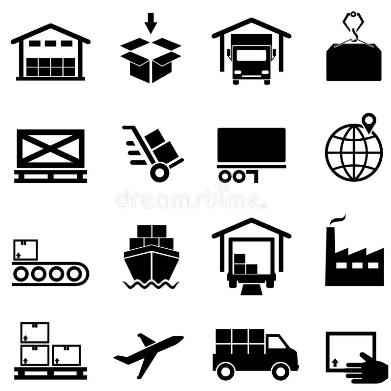 Logistics, supply chain, distribution, warehousing and shipping. Icon set vector illustration