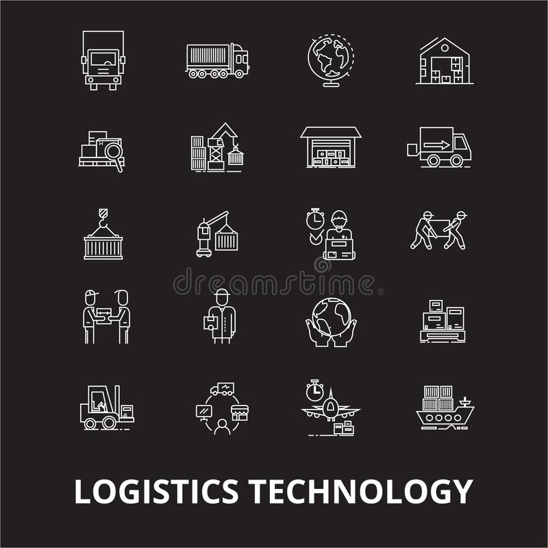 Logistics technology editable line icons vector set on black background. Logistics technology white outline vector illustration