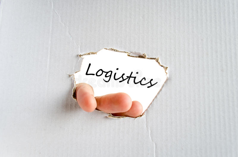 Logistics text concept. Isolated over white background stock image