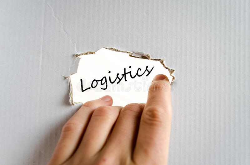 Logistics text concept. Isolated over white background stock photo