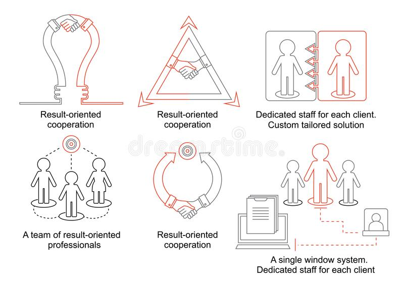 Logistics thin line icons. Business concept with lamp and handhsake. A team of result-oriented professionals. Dedicated stock illustration