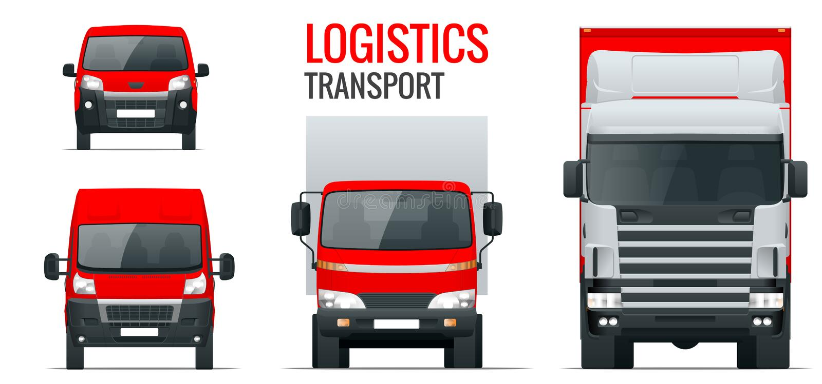 Logistics transport. Front view truck trailer, Semi truck, cargo delivery, van and minivan. Blank Freight delivery. Trucks. Isolated cargo vehicle set on white vector illustration