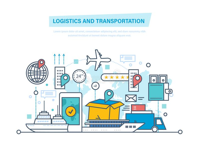 Logistics, transportation. Delivery air, train, ship, road transport, manual delivery. Logistics and transportation, delivery services, opened box. Delivery by vector illustration
