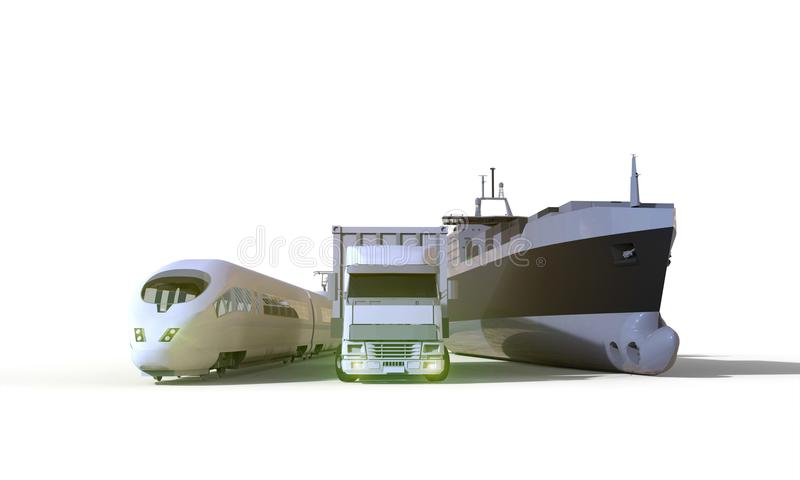 Logistics and transportation truck,Boat,High speed train,isolate on Background stock photo