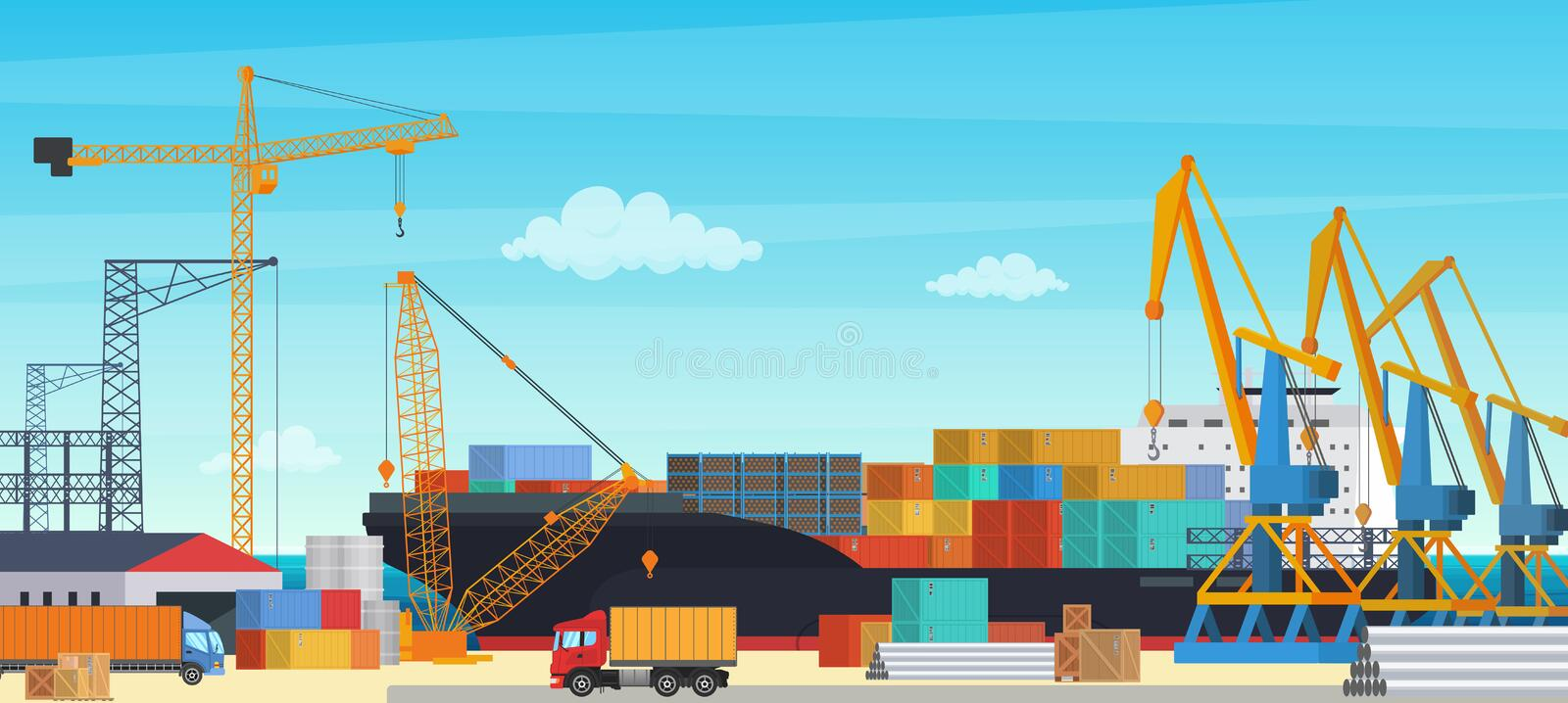 Logistics transportationt container ship with industrial crane import and export in shipping cargo harbor yard vector illustration