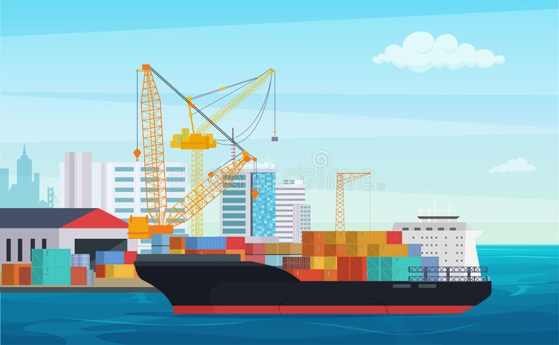Logistics truck and transportation container ship. Cargo harbor port with industrial cranes. Shipping yard vector royalty free illustration