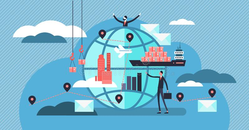 Logistics vector illustration. Tiny persons with shipment business concept. vector illustration