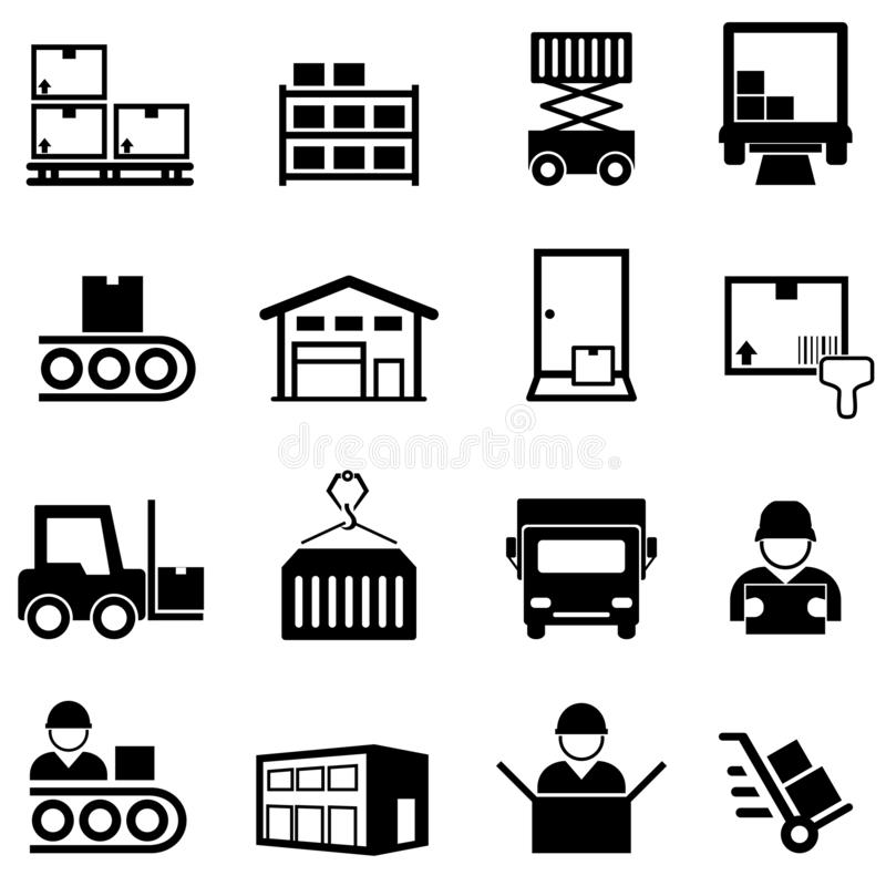 Free Logistics, Warehouse, Distribution Center, Delivery And Shipping Line Icon Set Stock Photo - 154996190