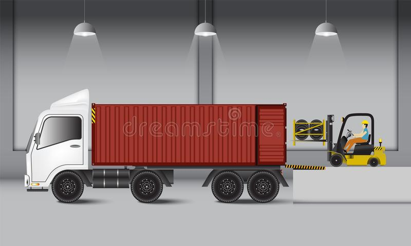 Logistics warehouse and loading dock, rubber wheels transportation and supply, Industrial scene. Logistics warehouse and loading dock, rubber wheels vector illustration