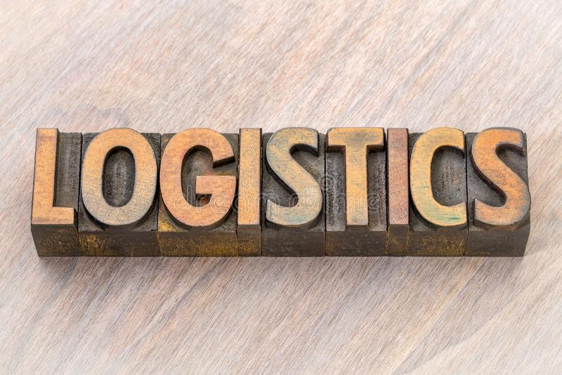 Logistics word abstract in wood type. Logistics word abstract in vintage letterpress wood type printing blocks royalty free stock photos