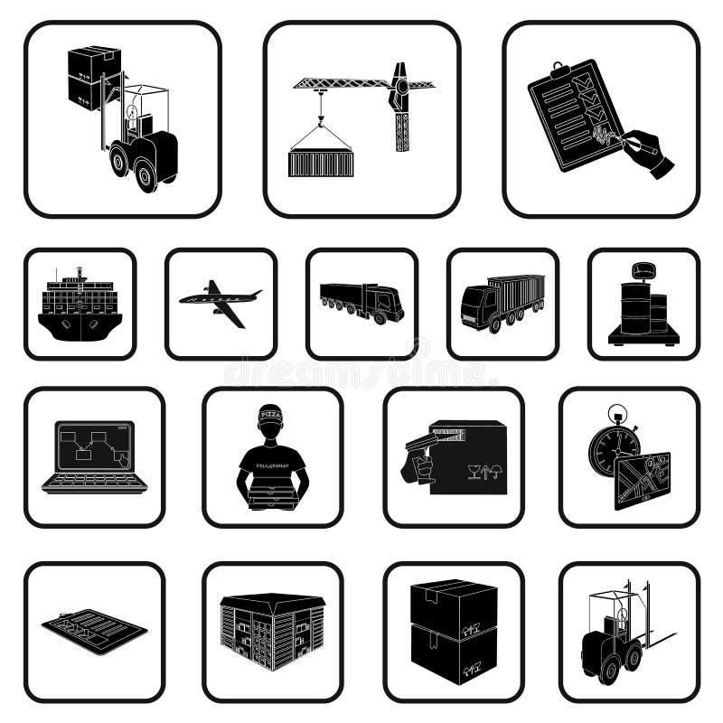 Logistiek en leverings zwarte pictogrammen in vastgestelde inzameling voor ontwerp Vervoer en voorraad van het materiaal de isome vector illustratie