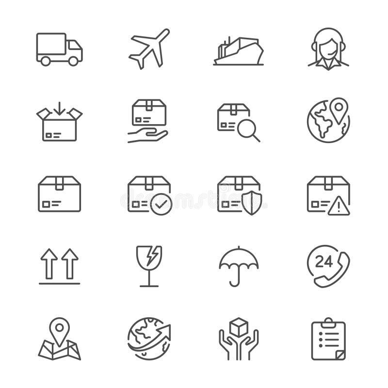 Logistiek en verschepende dunne pictogrammen stock illustratie