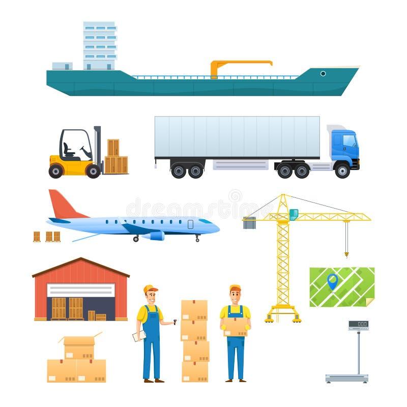 Logistiek en vervoer, de leveringsdiensten Voertuigen, navigatiegps stock illustratie