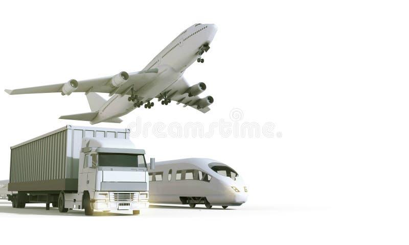 Logistiek en vervoersvoertuig in vrachtlading op isolate Achtergrond stock illustratie