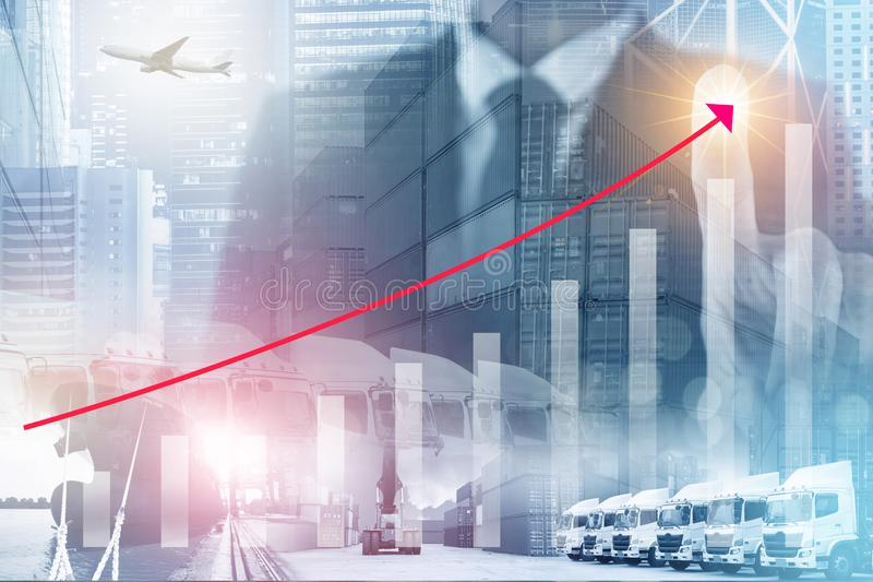 Logistiek het commerciële de industrie groeien met infographic van het incresing van grafiek vector illustratie