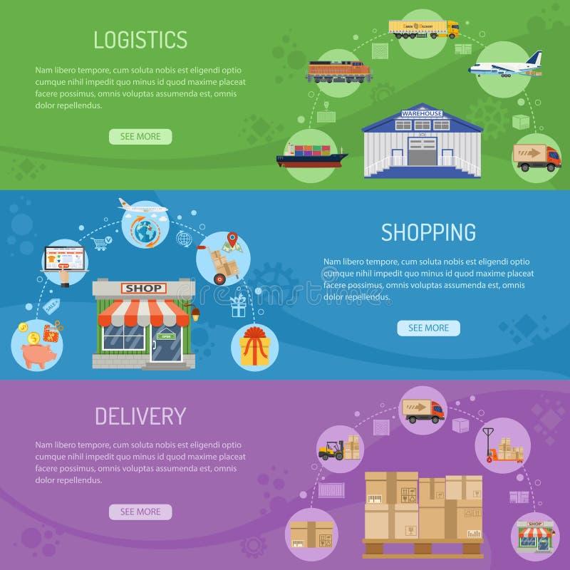 Logistiek levering en het winkelen Banners stock illustratie