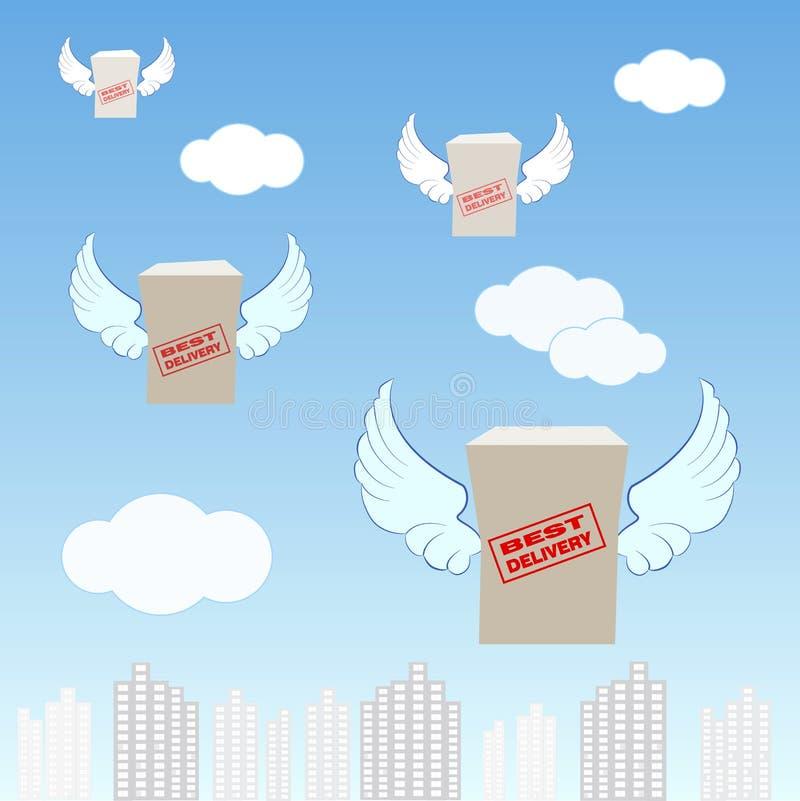 Logistiekbedrijf, dozen met vleugels, die over de stad vliegen, vector illustratie