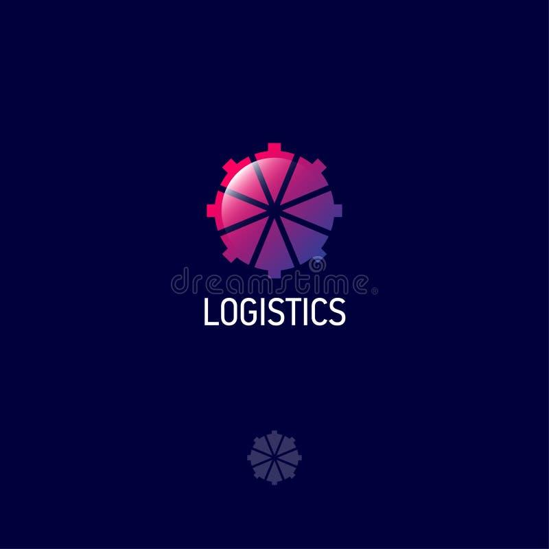 Logistiekembleem De richtingpijlen neigen naar het centrum Glanzend Web, UI-pictogram royalty-vrije illustratie