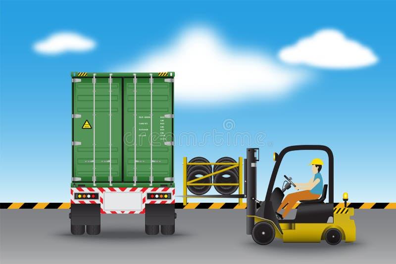 Logistiekpakhuis en ladingsdok, rubberwielentransportati vector illustratie
