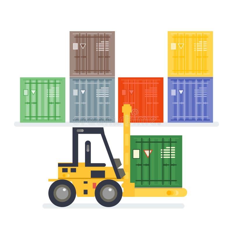 Logistiekpakhuis met het laden van vrachtwagen en het werken van vorkheftruck royalty-vrije illustratie