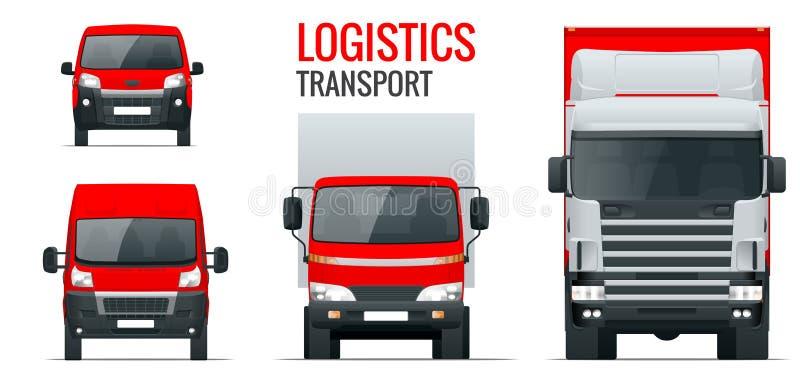 Logistiekvervoer De aanhangwagen van de vooraanzichtvrachtwagen, Semi vrachtwagen, ladingslevering, bestelwagen en minivan Lege V vector illustratie