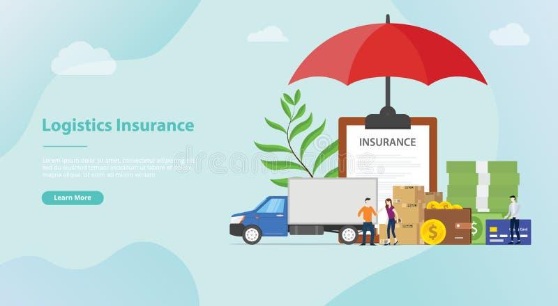 Logistiekverzekering met wat stapelkarton met grote parapludekking voor de banner van het websitemalplaatje of landende homepage  royalty-vrije illustratie