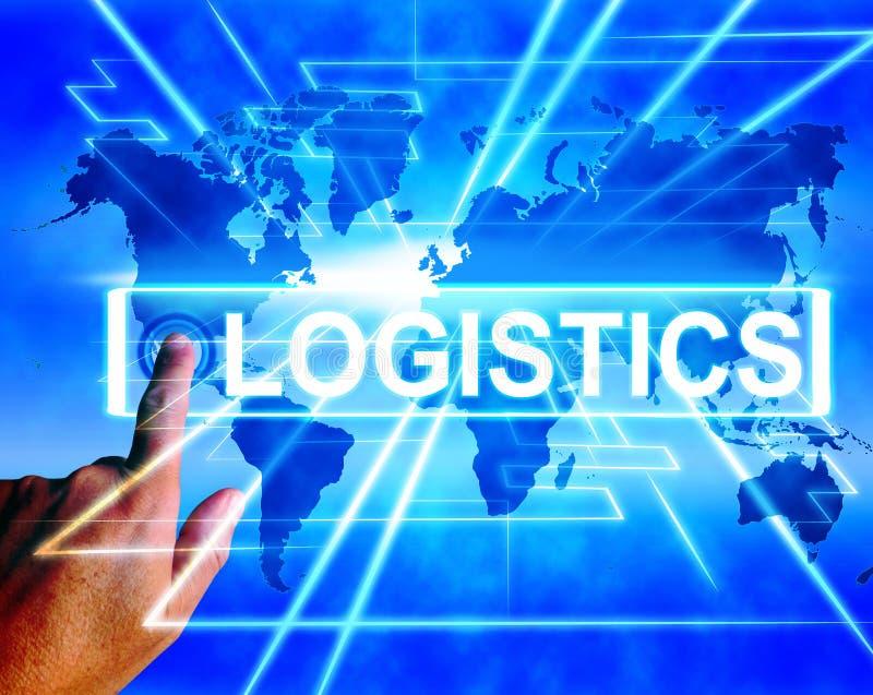 Logistik-Karte zeigt logistische Koordination und International an stock abbildung