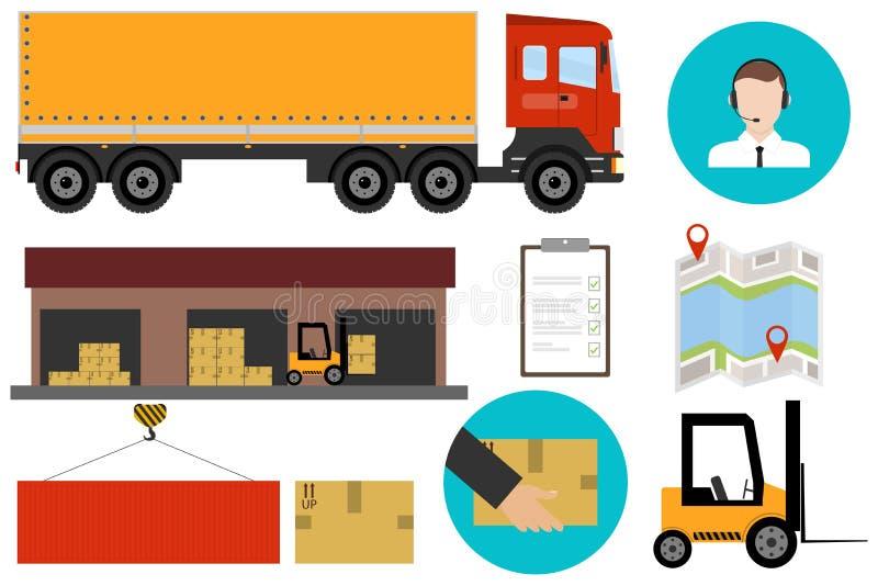 Logistik logistikservice Frakttrans. stock illustrationer