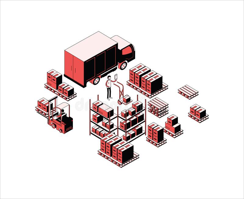 Modern logistic design in flat style royalty free stock photos