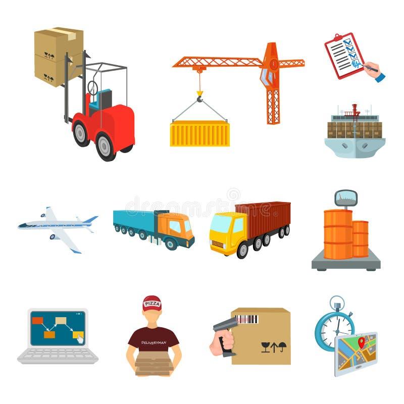 Logistik- och leveranstecknad filmsymboler i uppsättningsamlingen för design Transport och för vektorsymbol för utrustning isomet vektor illustrationer