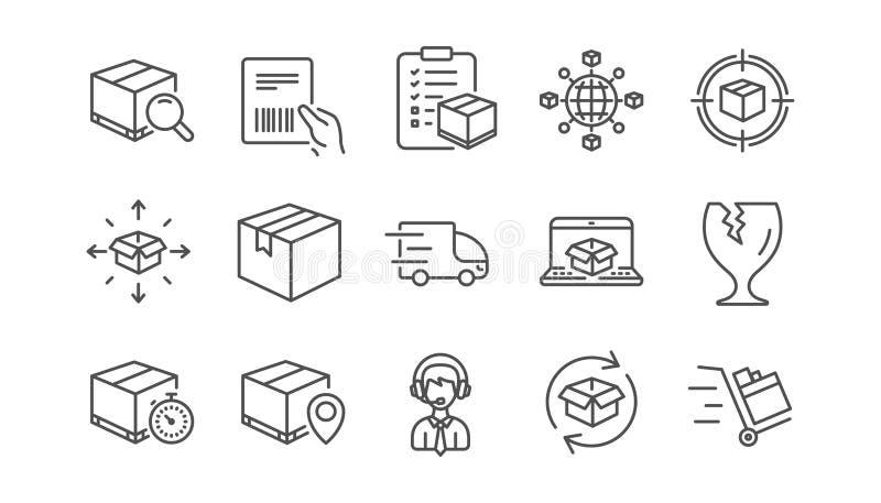 Logistik och sändningslinje symboler Lastbilleverans-, kontrollista- och jordlottspåring Linjär symbolsuppsättning vektor stock illustrationer