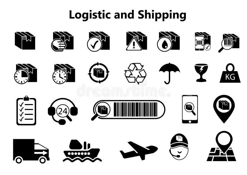 Logistik och sändningssymboler stock illustrationer