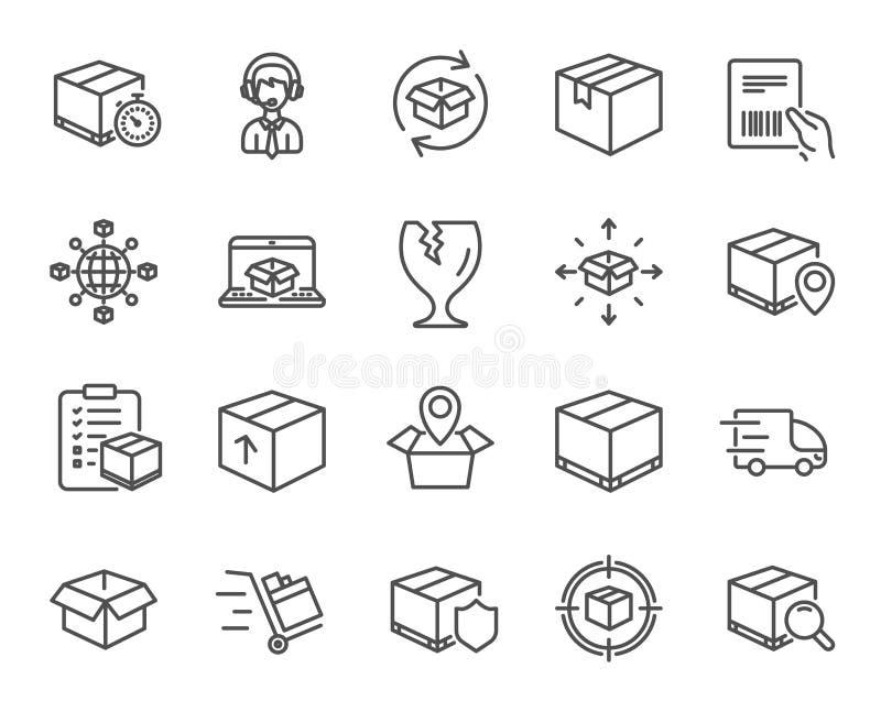 Logistik och sändningssymboler Lastbilleverans vektor illustrationer