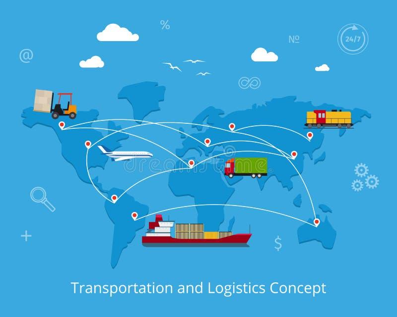 Logistik och trans.begrepp royaltyfri illustrationer