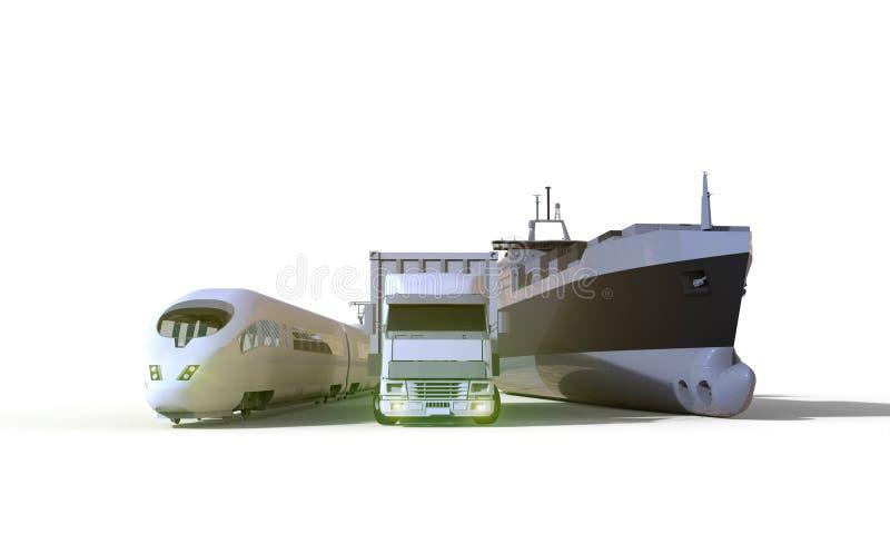 Logistik- und Transport-LKW, Boot, Hochgeschwindigkeitszug, Isolat auf Hintergrund stockfoto