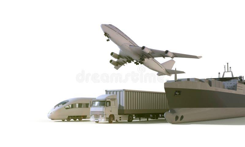 Logistik- und Transport-LKW, Hochgeschwindigkeitszug, Boot im Frachttransportflugzeug auf Isolat Hintergrund stock abbildung