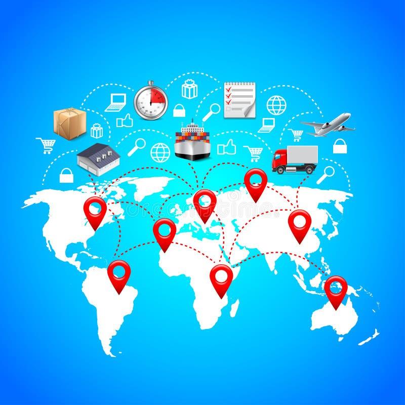 Logistikbegrepp med världskarta- och punktmarkörer royaltyfri illustrationer