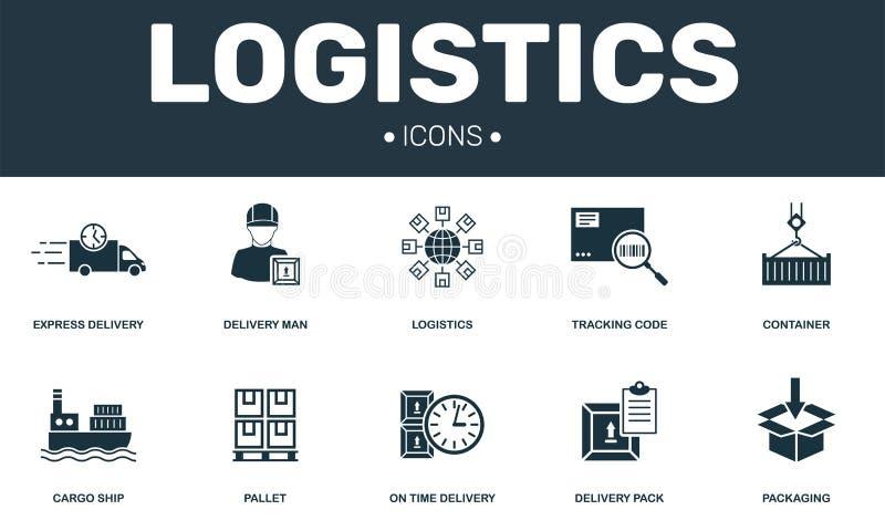 Logistiken ställde in symbolssamlingen E vektor illustrationer
