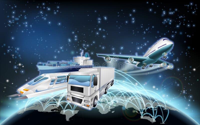 Logistikjordklotbegrepp stock illustrationer