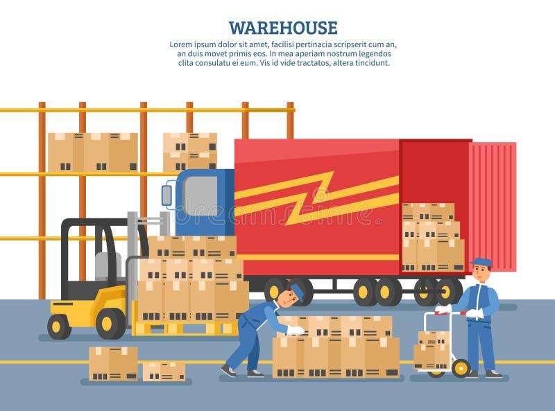 Logistikleveransaffisch stock illustrationer