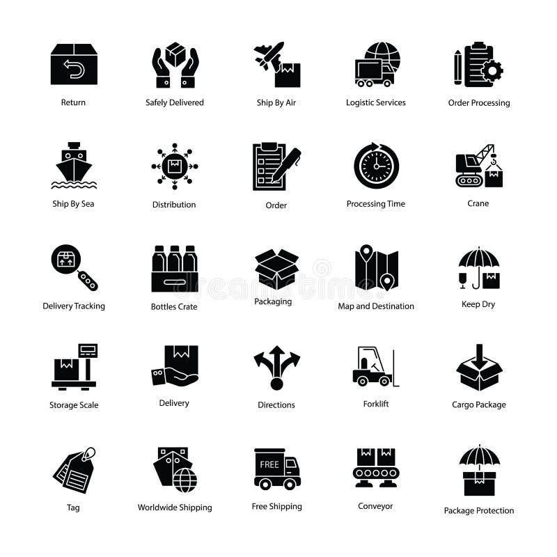 Logistikleveranssymboler stock illustrationer