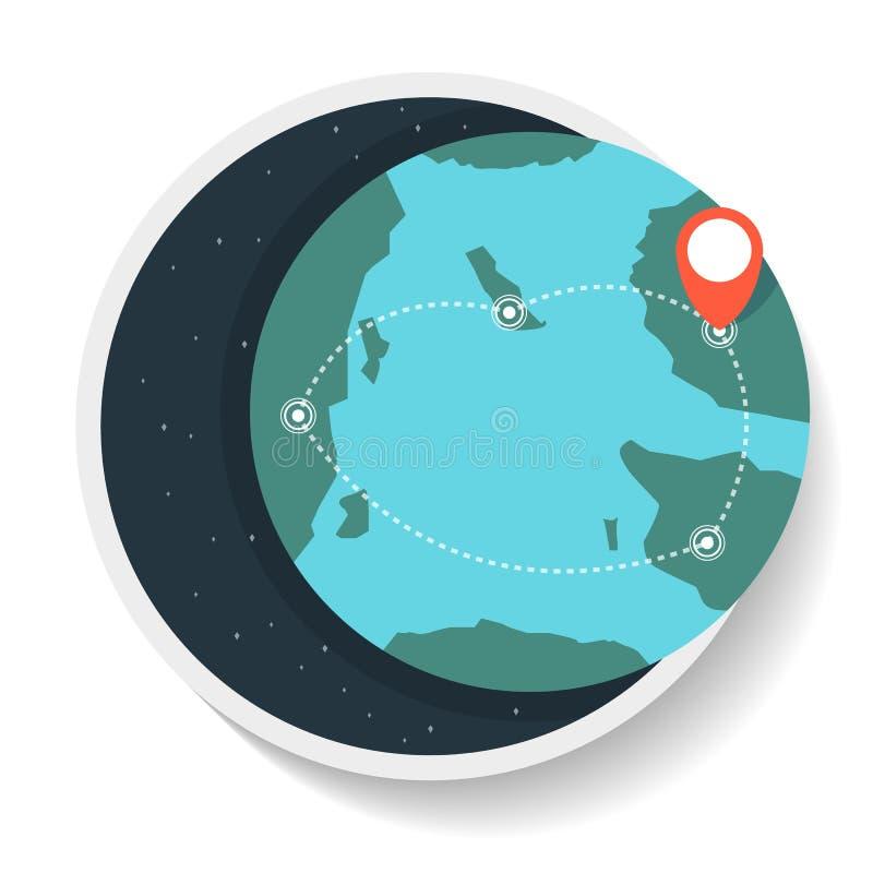 Logistiksymbol med den kommersiella rutten på jordklotöversikt stock illustrationer