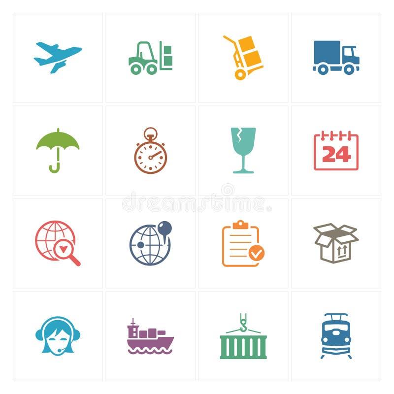 Logistiksymboler - kulör serie stock illustrationer