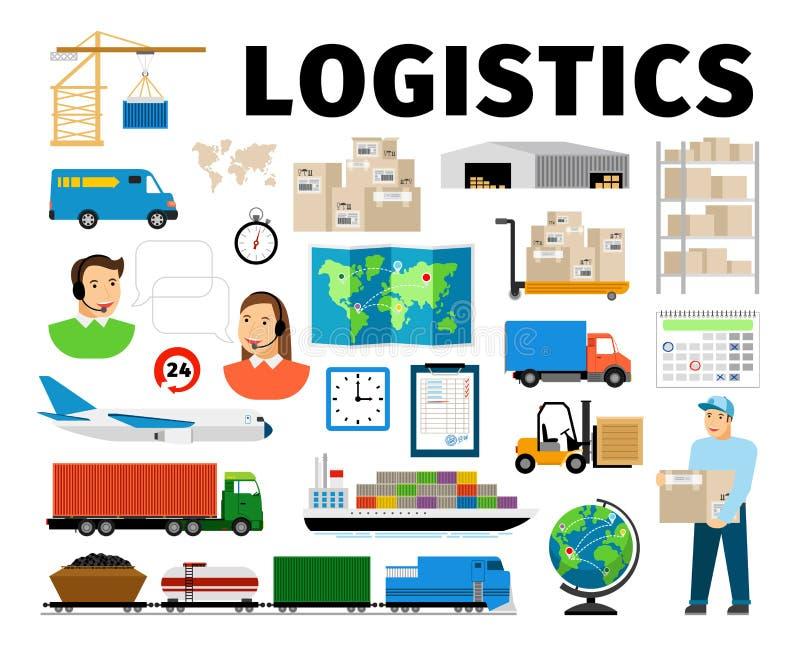 Logistikvektorbeståndsdelar som isoleras på vit bakgrund Arbetare och transport, uppfyllelse för lagerfördelningsarbete stock illustrationer
