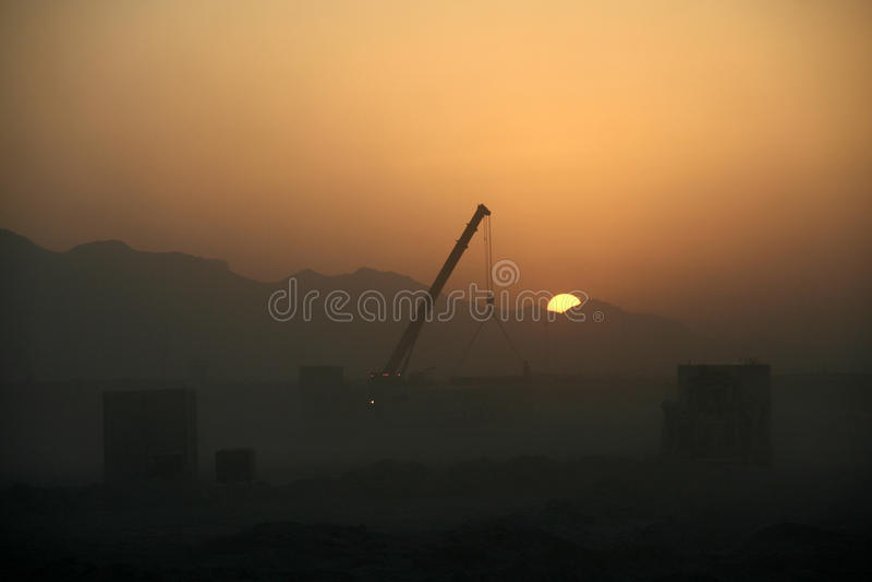Logistique de l'Afghanistan comme coucher du soleil photographie stock libre de droits