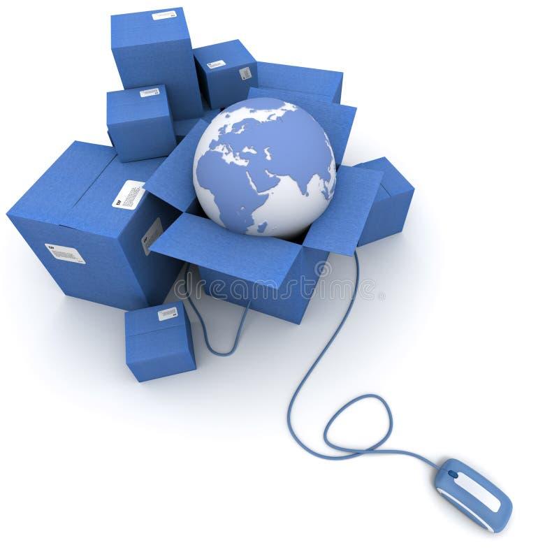 Logistique en ligne mondiale dans le bleu illustration de vecteur