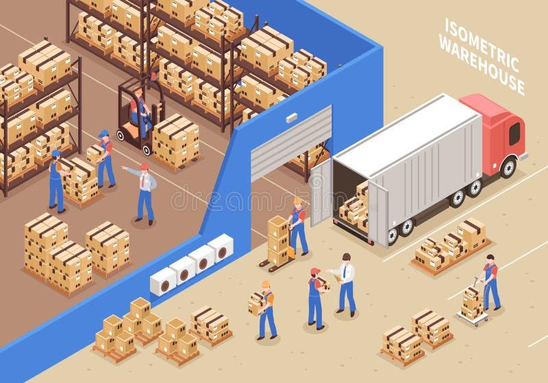 Logistique et illustration d'entrepôt illustration libre de droits